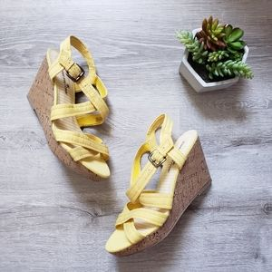 MONTEGO BAY yellow strappy wedge sandals
